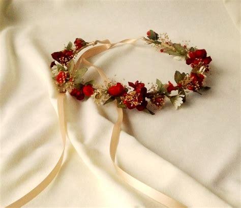 Autumn Weddings Bridal Floral Crown Red Woodland Hair