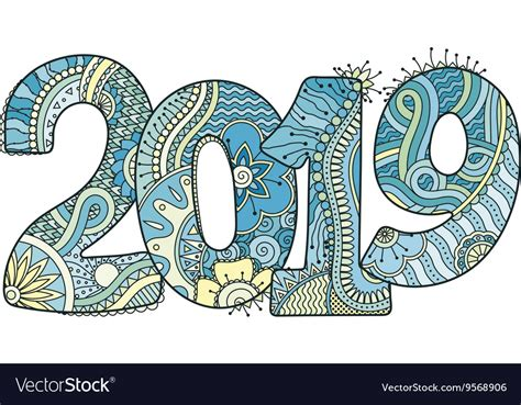Happy New Year 2019 Celebration Number Royalty Free Vector