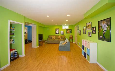 Kids Basement Playroom With Green Wall Paint Color Home