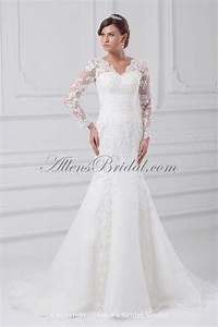 allens bridal organza v neck neckline sweep train With illusion sleeve wedding dress