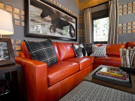 Grey Living Room Hgtv by Gray Living Room With Orange Sofa Hgtv