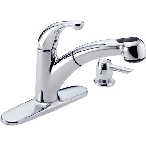 pull kitchen faucet shop delta palo chrome pull out kitchen faucet at lowes