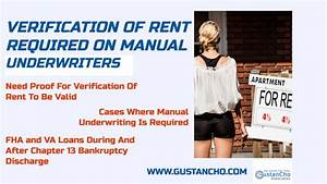 Verification Of Rent Required On Manual Underwrites Guidelines