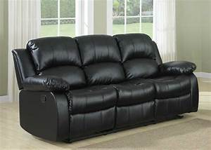 Homelegance cranley double reclining sofa black bonded for Sectional sofa with double recliner