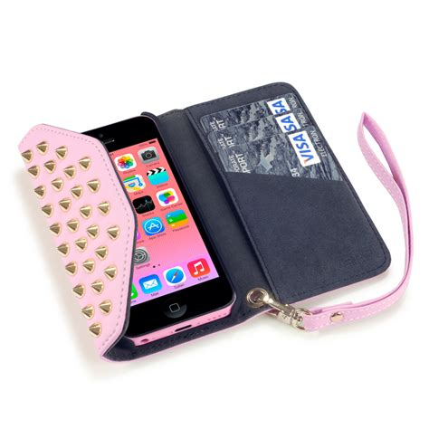 iphone purse covert pink studded rock chic purse wallet for iphone