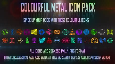colorful icon pack colourful metal icon pack by spiraloso on deviantart