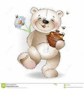 Happy Teddy Bear Comes With A Gift To The Honey Pot Stock ...