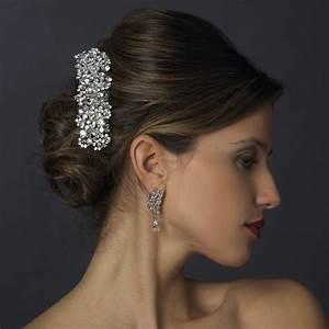 Silver Swarovski Crystal Rhinestone Barrette Elegant