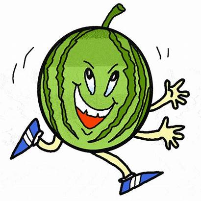 Clip Funny Clipart Cliparts Watermelon Running Gifs