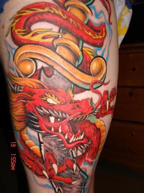 tatouage de dragon japonais rouge  inkage