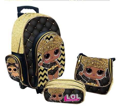 kit mochila escolar personalizado lol queen bee luxo