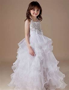 buy cheap organza tiered halter beading wedding dress for kids With kid wedding dresses