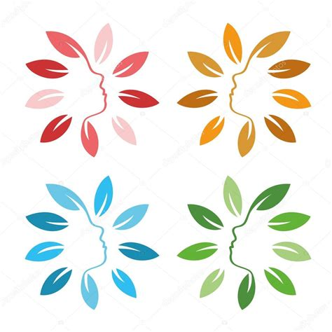 isolated abstract colorful floral logo set shape flowers with petals logotype collection