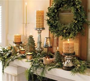 Decorating Fireplace Mantle Greens & Candles Christmas