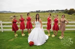crimson bridesmaid dresses brown bridesmaid dresses frey wedding photography
