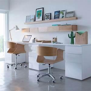 double bureau pour la maison blanc et bois decoration With nice idee deco bureau maison 0 idee deco amenagement bureau