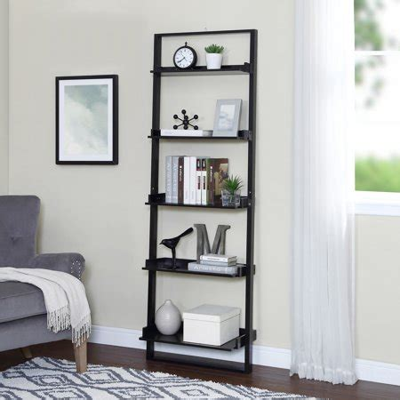 Leaning Bookcase Walmart mainstays 70 quot 5 shelf leaning ladder bookcase espresso