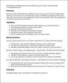 talent management professional resume professional talent acquisition manager templates to showcase your talent myperfectresume