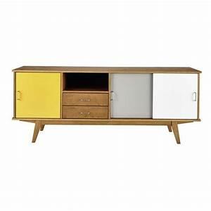 buffet enfilade vintage 3 portes 2 tiroirs gris blanc With meuble tv maisons du monde 0 meuble tv vintage 2 portes tricolore paulette maisons du
