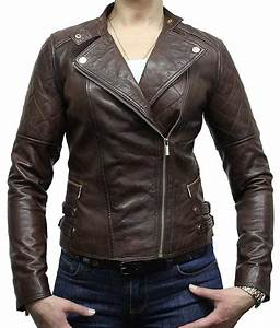 Womens Classic Style Dark Brown Motorcycle Leather Jacket