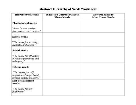 15 best images of worksheets basic human needs maslow