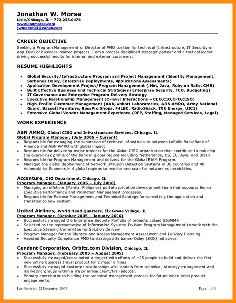 marketing objective resume 28 images 5 sles of