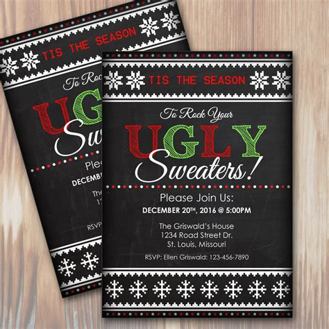 ugly christmas sweater party custom invitation instant
