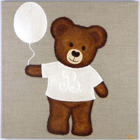 tableau ourson chambre bébé tableau ourson au ballon peinture sur