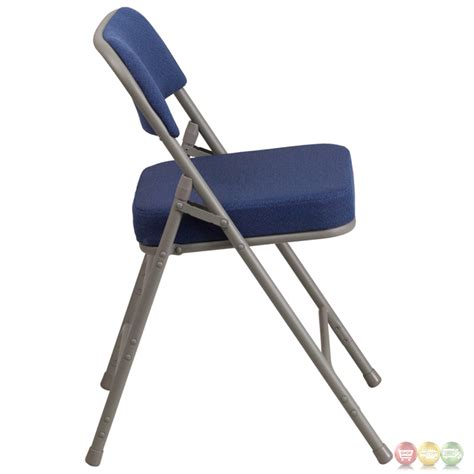 hercules premium hinged navy fabric upholstered metal folding chair