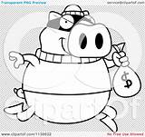 Coloring Bank Pig Cartoon Robbing Pages Clipart Outlined Vector Illustration Transparent Background Cory Thoman sketch template