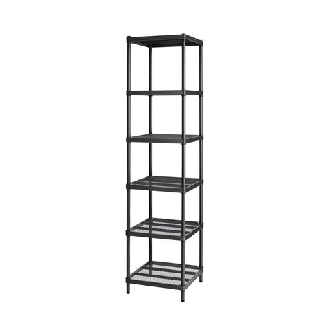 Narrow Shelf by Meshworks 6 Shelf Metal Black Freestanding Narrow Shelving