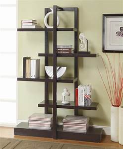 Fascinating Brown Wooden Book Shelves With Graded Racks