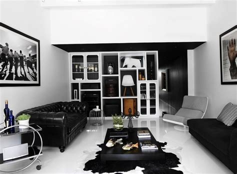 black and white home interior cool modern living room with attractive fur rug idea and