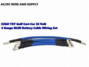 4 Awg Hd Golf Cart Battery Cable 5 Pc Set Blue E