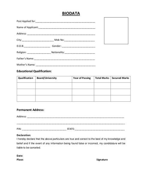 biodata resume format