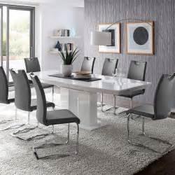 esszimmer kaufen esszimmer set esstisch hochglanz weiß freischwinger kunstleder grau stuhl tisch