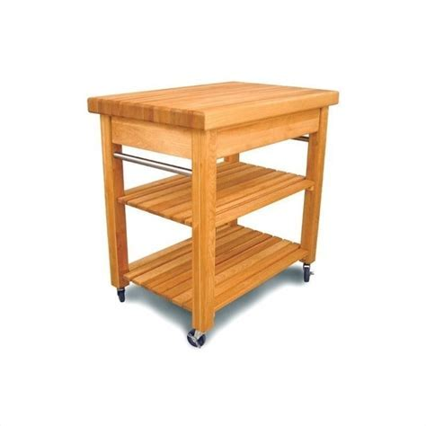 Catskill French Country Small Butcher Block Kitchen Cart