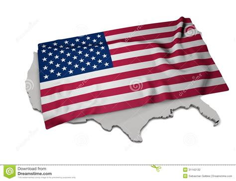 Realistic Flag Covering The Shape Of Usa (series) Stock