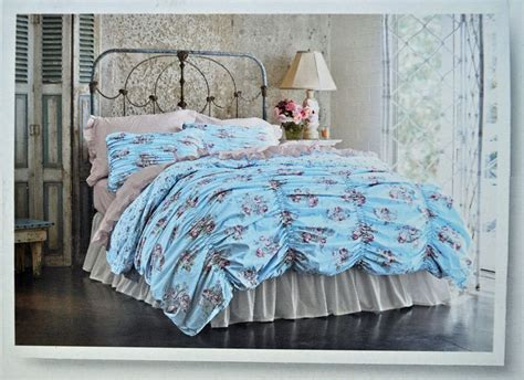 simply shabby chic ruched duvet new simply shabby chic smocked ruched cabbage rose duvet cover sham twin blue ebay