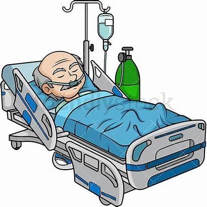 Hospital Bed Coma Cartoon Clipart Patient Vector