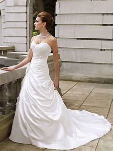 Satin A Line Wedding Dress UK With Strapless Sweetheart