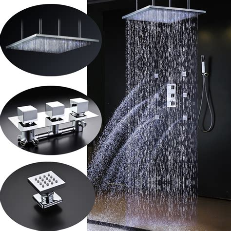 shower faucet valve included sicily 40 quot 40 quot large chrome led shower with