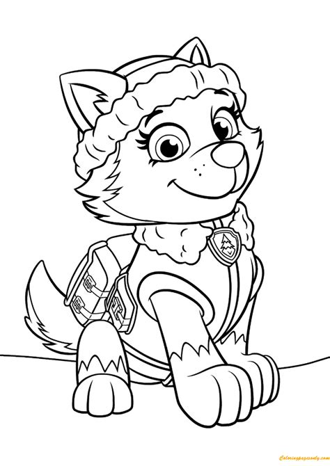paw patrol everest coloring page  coloring pages