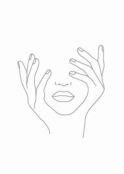 Minimal Line Drawing Face Hands Drawings Woman