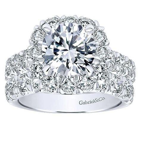 18k white gold french pave large halo diamond engagement
