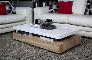 Table Basse Blanc Laqué Et Bois : table basse design dessus en bois laqu blanc martens mobilier priv ~ Teatrodelosmanantiales.com Idées de Décoration