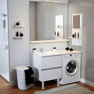Meuble Pour Machine À Laver : meuble vasque de salle de bain avec emplacement lave linge ~ Dode.kayakingforconservation.com Idées de Décoration