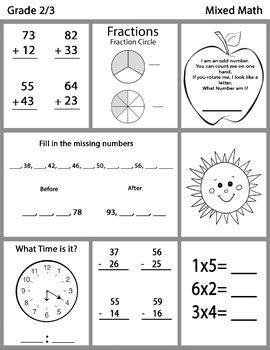 grade  mixed math worksheets bundle  tbu inspired