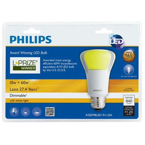 philips led a l philips endura led 10w a19 dimmable bulb l prize winner