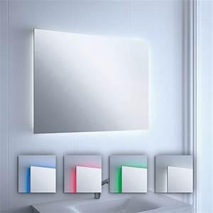 miroir lumineux led colores salle de bain horizontal ou With miroir vertical salle de bain